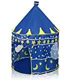 innoJoy Castle Play Tent for Kids, Convenient Foldable Pop Up Playhouse with Carry Bag Included (Blue)