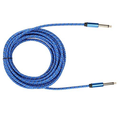 Mxzzand 6.35 Cable de Audio Macho a Macho Cable de Audio Mono de aleación de Aluminio Resistente a la compresión Durable para Guitarra eléctrica y Altavoz(Blue, 6 Meters)