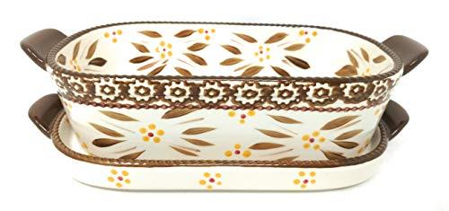 Temp-tations 1 Qt Squoval Panadero con tapa (bandeja), cazuela pequeña (especias de encaje floral)