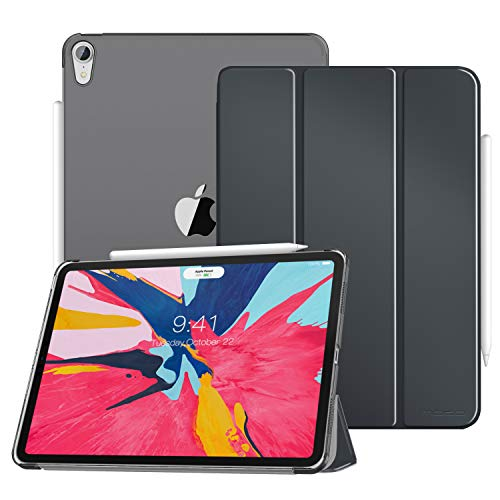 MoKo Case Fit iPad Pro 11' 2018 - Translucent Frosted Back Protector Smart Shell Stand Cover with Apple Pencil's Magnetic Attachment Side Opening Fit iPad Pro 11 Inch - Space Gray(Auto Wake/Sleep)