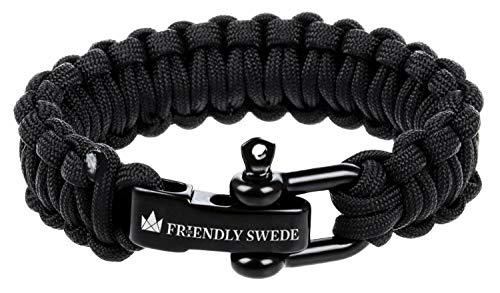 The Friendly Swede–Pulsera de Supervivencia de Cuerda con Cierre de Acero Inoxidable–Talla Ajustable–para muñecas de 18–20cm–Garantía a Vida, Schwarz - Small