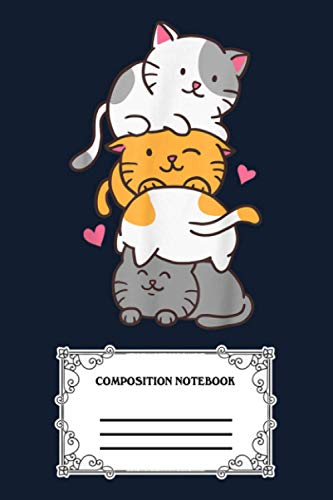 Cat Cats Meowtain Cute Kitty Pile Anime Kawaii Neko Gift MUKAZ Notebook: 120 Wide Lined Pages - 6' x 9' - College Ruled Journal Book, Planner, Diary for Women, Men, Teens, and Children