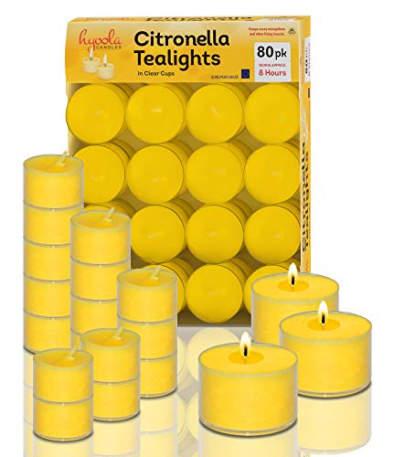 Tealight Citronella Candles Outdoor - 8 Hour Burn Time - Indoor and Outdoor Mosquito, Insect and Bug Repellent Citronella Candle - Natural Fresh Scent – Decorative in Clear Cup - 80 Pack
