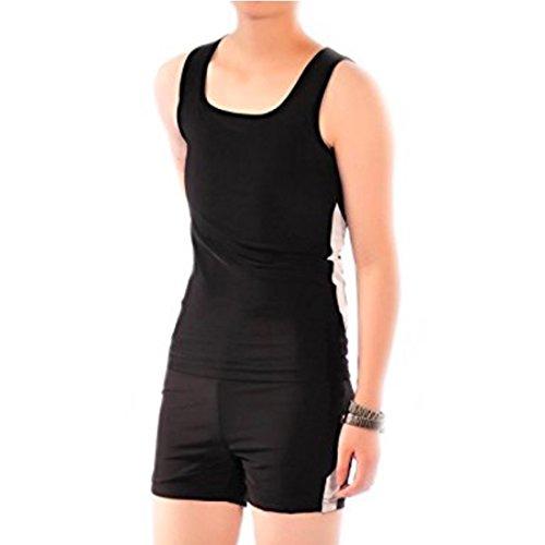Women's Lesbian Tank Super Flat Elastic Band Binder Quick-Drying Swimsuit (Black White, US S=Asin 2XL)