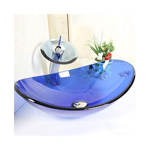 HomeLava Lavabos Sobre Encimera con Grifo de Cascada(Azul-Ovalado)
