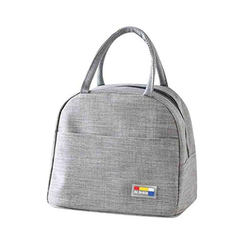 DOLDOA Damen Rucksack Handtasche,Isolierte Brotdose Weiche Kühltasche wasserdichte Thermische Arbeitsschule Picknick Bento (Grau)