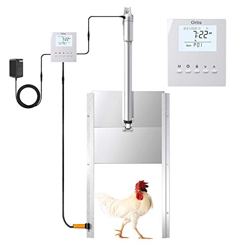 Ortis Automatic Chicken Coop Door Opener Kit, Electric Auto Chicken Guard Door with Programmable Timer Controller, Infrared Sensor to Prevent Chicken from Being Crushed