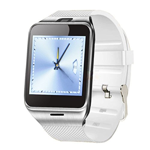 SSSabsir Singe Bluetooth SmartWatch NFC Waterproof Phone Watch for Smartphones Android Samsung S3/S4/S5/S6/S6 Edge Note 2/Note 3 Note 4 HTC M8/M9 Sony-White