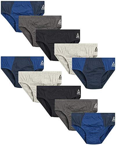 Reebok Herren Low Rise Unterwäsche Slips (10er Pack), Größe M, Anthrazit/Marineblau/Grau/Marineblau/Schwarz