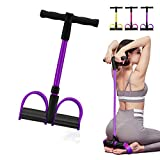 Camfosy Pedal Resistance Band,4 Tubes Latex Elastic Pull Rope Sit-up Bodybuilding Fitness Equipment Exercise Resistance Bands for Abdomen/Waist/Arm/Yoga/ Pilates Stretching Slimming Training