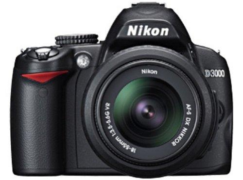 Nikon D3000 SLR-Digitalkamera (10 Megapixel) Kit inkl. 18-55mm VR + 55-200mm VR Objektiv (bildstab.)