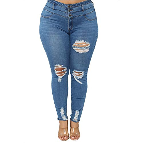 ALLABREVE Women's Plus Size Stretch Skinny Ripped Jeans, 3 Button High Rise Slim Fit Washed Denim Jegging, Girlfriend Distressed Tight Jean Pants (Dark Blue, XL)