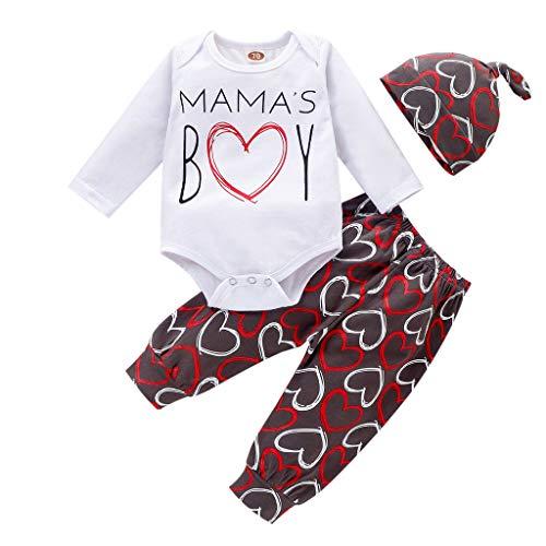 Vêtements Bébé Naissance Mama's Boy Ensembles Fille Garçon Body Et Pantalons Et Chapeau Tenue Combinaison Imprimé Lettre Robemon