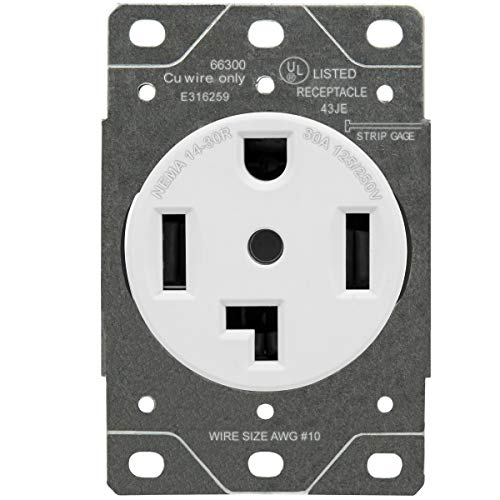 ENERLITES 66300 30 Amp Electrical Dryer Outlet | NEMA 14-30R, Outdoor/Indoor, Flush Mount Receptacle, 3-Pole, 4 Wire, (10,8,6,4) AWG, Industrial Grade, 125/250V, 66300-W | White