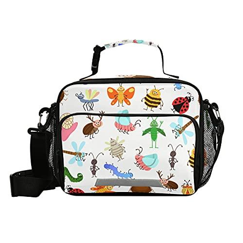 Carino mosca strisciante insetti cartoni animati Happy Lunch Box scuola pranzo borsa isolata congelabile pranzo Tote kit termico portatile riutilizzabile borsa con tracolla per ufficio picnic viaggio
