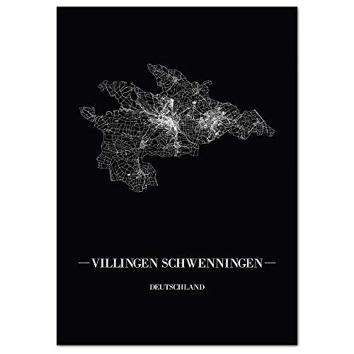 JUNIWORDS Stadtposter - Wähle Deine Stadt - Villingen-Schwenningen - 30 x 40 cm Poster - Schrift A - Schwarz