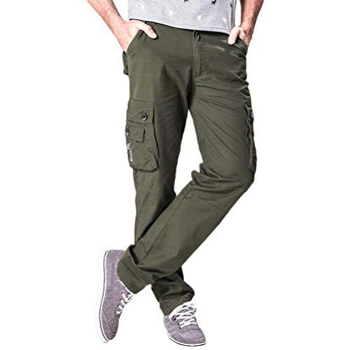 TEBAISE Herren Leinen-Hose Lange Chino Cargo Hose Bequeme Stoffhose aus Hochwertiger Leinenmischung für Männer(Armee grün,36)