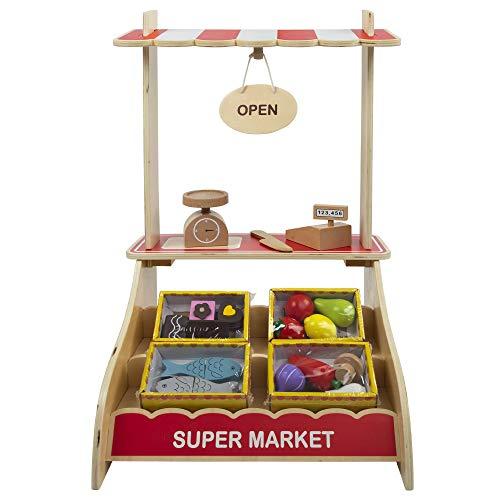 WOOMAX - Supermercado de Juguete de Madera con Accesorios Comida Juguete, Caja registradora juguete, Complementos cocinitas juguete niños 3 años Juguete educativo (85387)