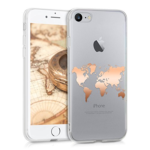 kwmobile Hülle kompatibel mit Apple iPhone 7/8 / SE (2020) - Handyhülle - Handy Hülle Travel Umriss Rosegold Transparent