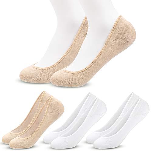 MELLIEX 4 Pares Calcetines de Invisibles Mujer, Calcetines de Cortos Tobilleros Calcetin de Algodón Finos Verano con Silicona Antideslizante