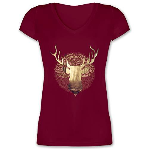 Oktoberfest & Wiesn Damen - Hirsch - M - Bordeauxrot - Oktoberfest-Kleidung - XO1525 - Damen T-Shirt mit V-Ausschnitt