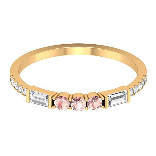 1/3 CT Lab Created Morganite Band, 1/2 CT HI-SI Diamond Eternity Ring, Gold Stackable Band (AAAA Quality), 14K Yellow Gold, Size:UK -1