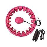 Mopoin Hula Hoop Fitness, Aro Hula inteligente pesado, no cae tamaño ajustable Smart Hula Hoop Artefacto para pérdida de peso con cuerda de saltar para adultos, jóvenes, niños principiantes (24 nudos)