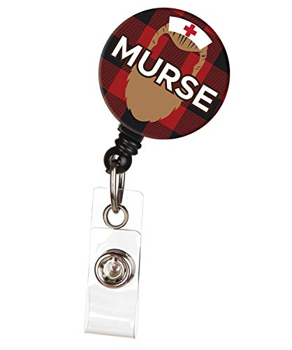 Murse with Beard Male Nurse Retractable ID Badge Reel