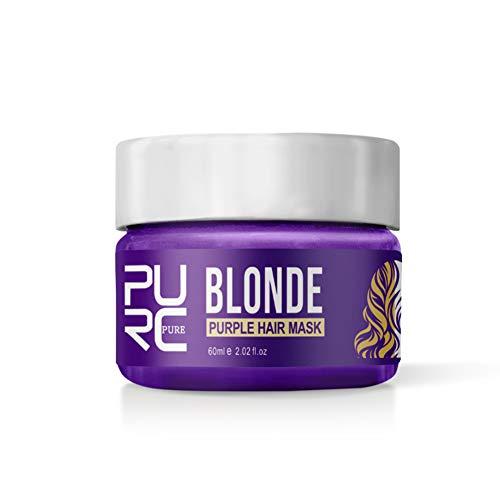 Luckine Masque pour cheveux violet Réparations Perlées, Rendre les cheveux doux, Enlève les tons jaunes et le masque de cheveux cuivré 60ml