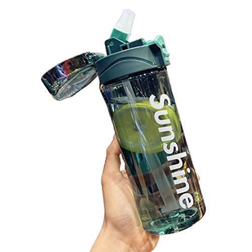 Botella Agua Deporte Prueba De Fugas Botella Deporte Botellas Plastico Botella Plastico Reutilizable Botellas Agua NiñOs Yoga Ciclismo Sport Colegio Green,Small