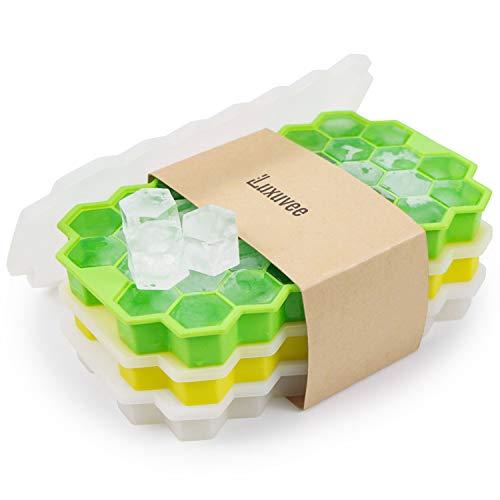Luxuvee Eiswürfelform Silikon mit Deckel 3er Pack 37-Fach Eiswuerfel Form Eiswürfelbehälterl Ice Cube Tray Wiederverwendbar für Bier Cocktails Whisky, BPA Frei