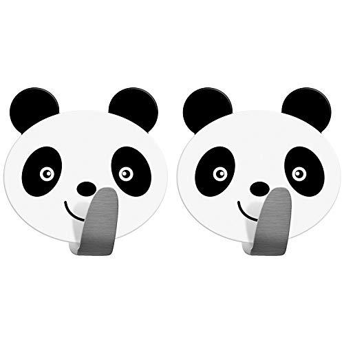 Tatkraft Panda 2er Pack Klebehaken Kinder, Handtuchhalter Aus Edelstahl, Handtuchhaken Selbstklebend, Schnell Montiert, Humorvolles Design Für Jedes Alter