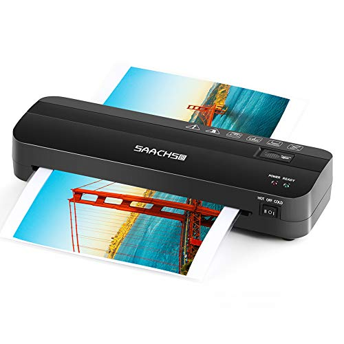 """Thermal Laminator, 9"""" Laminating Machine for Letter Size/A4/A5/A7, Portable Laminate Machine, 3 Min Fast Warm Up, High Speed&No Bubbles, One Button Jam Release for Home/Office/School (Black)"""