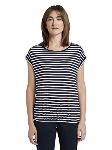 TOM TAILOR Damen T-Shirts/Tops Gemustertes T-Shirt mit elastischem Bund Navy Stripe,M