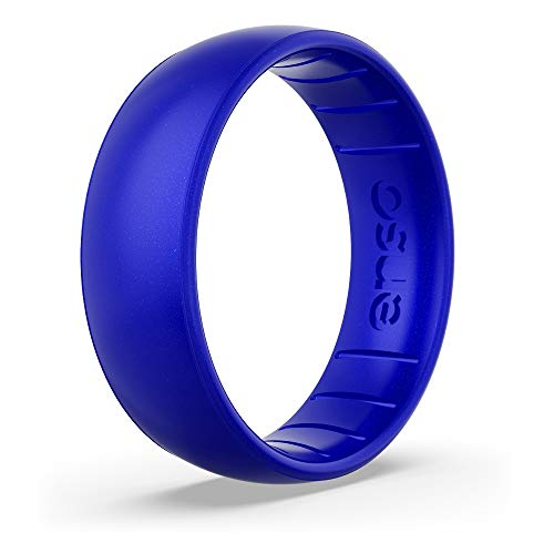 Enso Rings Classic Birthstone Silicone Ring – Unisex Wedding Engagement Band – Comfortable Breathable Band – 6.6mm Wide, 1.75mm Thick (Sapphire, 14)