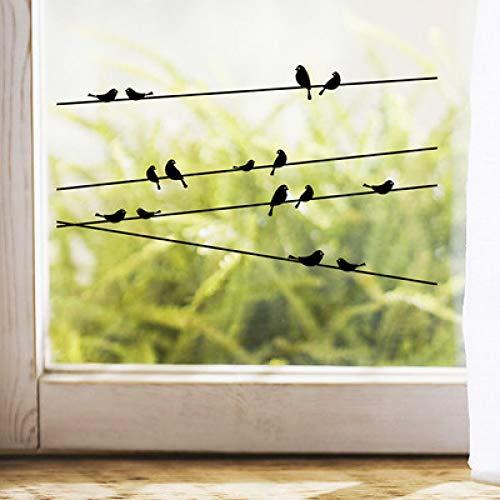 JXLLCD creatieve birdie telefoonmast woonkamer glazen raam decoratie muursticker verwijderbare gesneden stickers 57 * 11cm