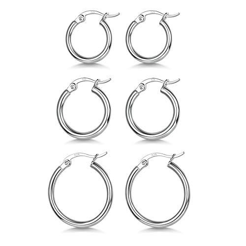 3 Pairs 925 Sterling Silver Hoop Earrings | Small White Gold Plated Hoop Earrings for Women Girls (13mm, 15mm, 20mm)