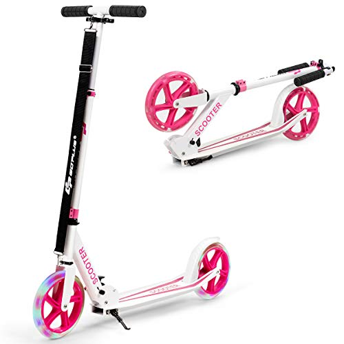 COSTWAY Folding Kick Scooter, 2 Flash Wheels Scooter with 3-Level Adjustable Handlebar, Rear Foot...