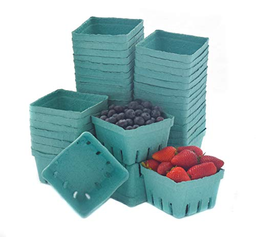 JA Kitchens Green Molded Pulp Fiber Berry/Produce Vented 1 Pint Basket (40 Pieces)