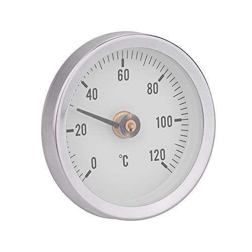 EECOO Bimetallthermometer, 63 mm wasserdicht staubdicht IP55 0-120 ° Bimetalltemperatur Federthermometer Rohroberfläche