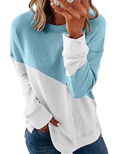 Bunanphy - Sudadera de manga larga para mujer, cuello redondo, con degradado, con abertura lateral, holgada, informal, de gran tamaño. Azul C-azul+blanco S