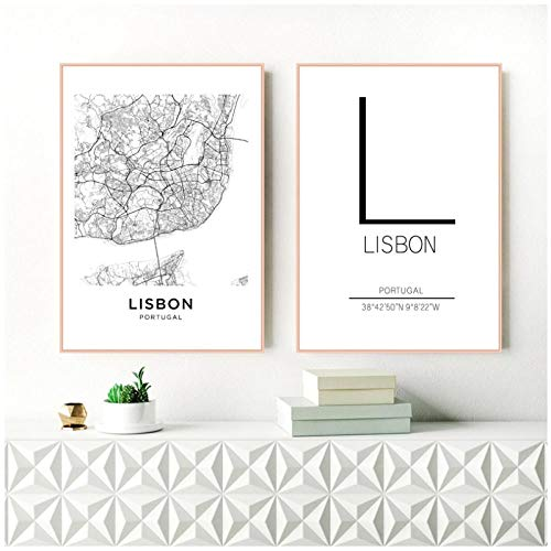 Zhaoyangeng Lissabon City Map Poster Art Decor Canvas Prints Portugal Lissabon Canvas Schilderen Muur Foto's Modern Home Decor- 50X70Cmx2 Geen Frame