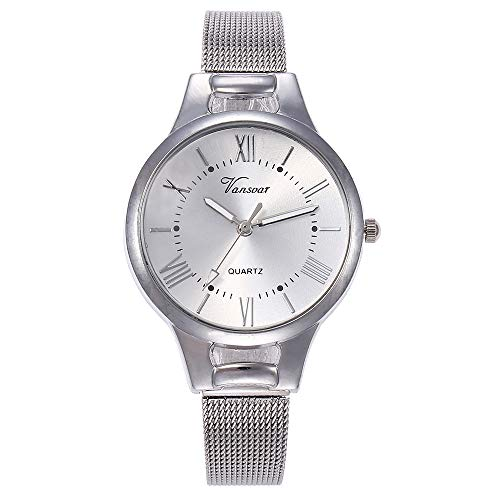 Clearance! Paymenow Women Teen Girls Casual Quartz Stainless Steel Strap Watch Analog Wrist Watches Office Business Watches (Silver)