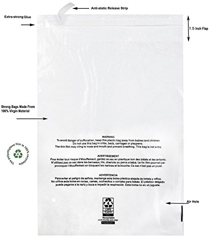 100 8x10 Self Seal Clear Poly Bags with Suffocation Warning - Strong Glue with Anti-static Strip, Vent Holes, 1.5 Mil