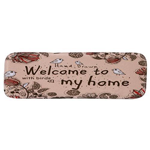 VORCOOL Treppenteppich Blumen Stufenmatte Anti Rutsch Waschbare Treppematte mit Klebeband Gummibeschichtung (Welcome to My Home)