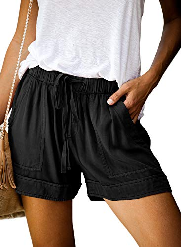 Dokotoo Womens Female Summer Vacation Casual Loose Comfy Drawstring Casual Elastic Waist Pocketed Shorts Pants Black Small