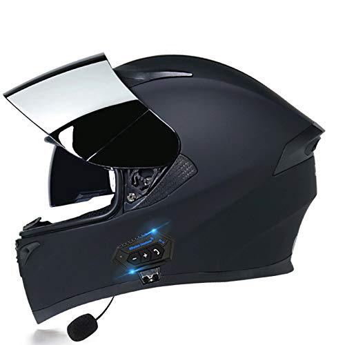 SJAPEX Bluetooth Casco de Moto con Doble Visera Cascos de Bluetooth Incorporado cicleta ECE Homologado a Prueba de Viento para Adultos Hombres Mujeres C,XL=61~62cm