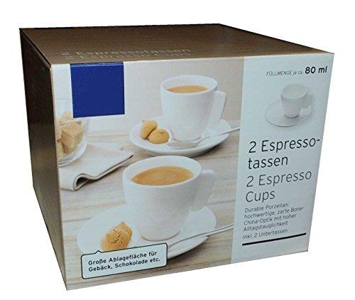Tchibo 2 Espressotassen mit Unterteller Weiss Espressotasse