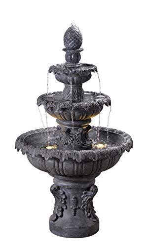 Kenroy Home Classic Outdoor Floor Fountain ,45 Inch Height, 25.5 Inch Width, 25.5 Inch Ext. with Zinc Finish