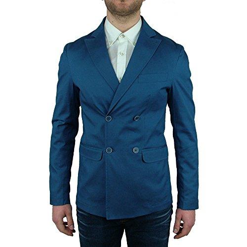 Maskio Giacca Blazer Sportiva Primaverile Doppiopetto Uomo Blu Elegante Man Jacket, 48 48